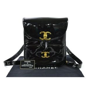 Authentic CHANEL Backpack Black/Gold